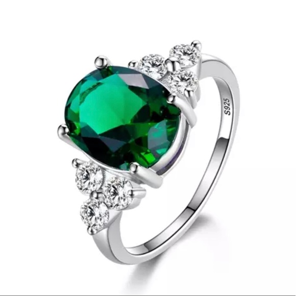 Sterling Silver Emerald /& Zircon Art Deco Style Large Cocktail Ring size M